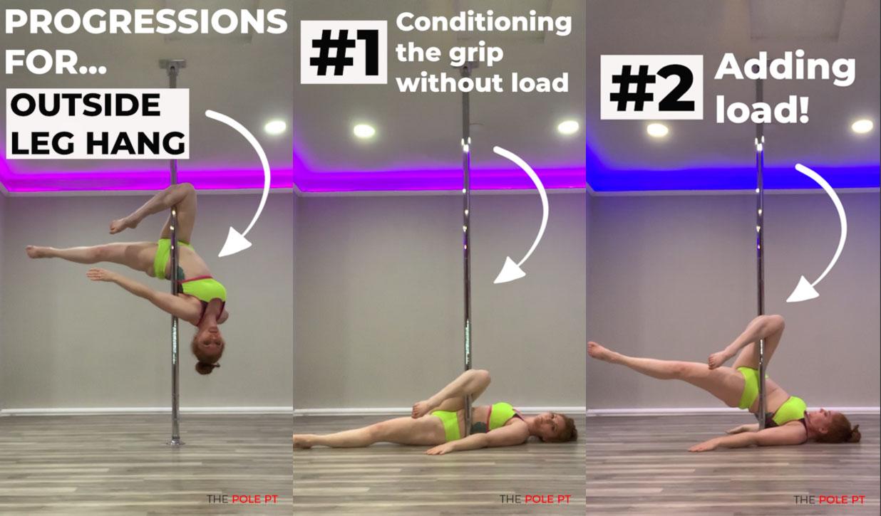 Outside leg hang progressions